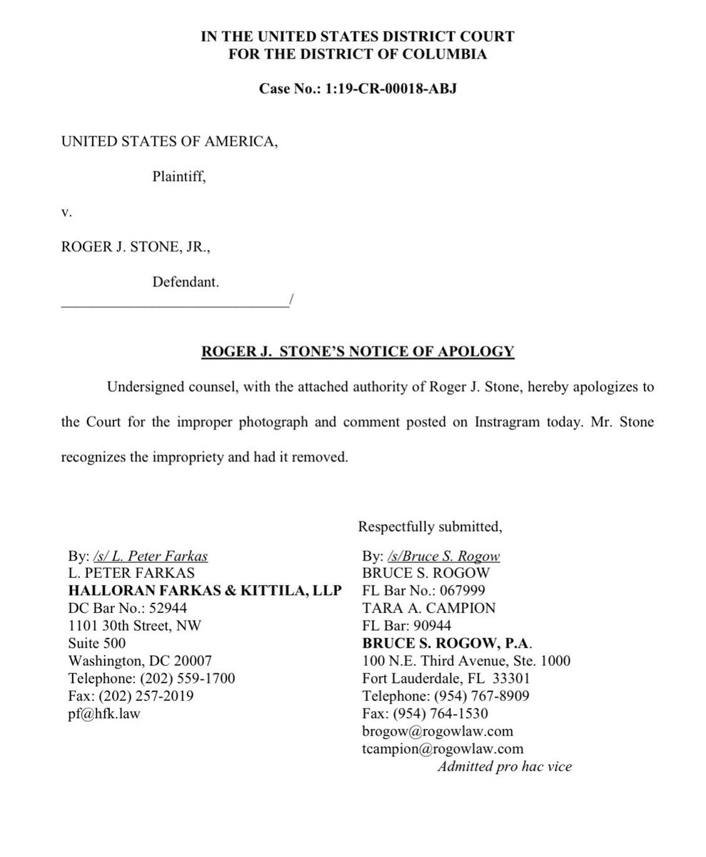 Roger Stone's attorneys have just submitted a court filing ...apologizing for his Instagram post today that targeted Judge Amy Berman Jackson.