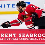 Image for the Tweet beginning: Brent Seabrook out of tonight's