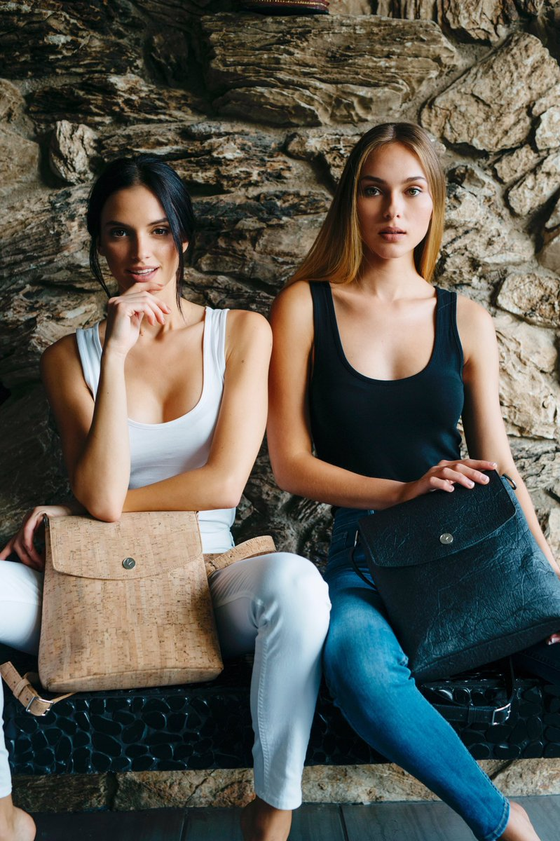 The Svala convertible Gemma bag handcrafted from cork and Piñatex® (made from pineapple leaf fiber) can be worn as a backpack or purse by easily adjusting the removable straps.  #veganfashion #sustainablefashion