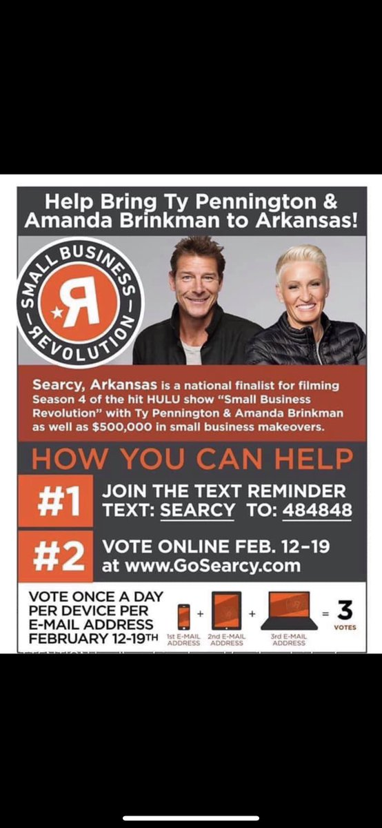 Hey @adamlevine !Help us BEAT BLAKE SHELTON!The town in which my college resides is in a small business revolution competition. Blake endorsed a town that unfortunately kicked ours out of first place... Searcy, AR and spark a friendly competition? <br>http://pic.twitter.com/NX9LBIR1U6