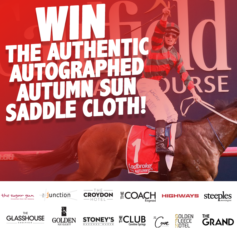 WIN | Here's your chance to win an incredible piece of horse racing memorabilia!   The saddle cloth of 2018 Caulfield Guineas winner The Autumn Sun 🏇🏆  The saddle cloth is signed by Trainer Chris Waller and jockey James McDonald!  Enter here : https://t.co/XivOfoU9bw