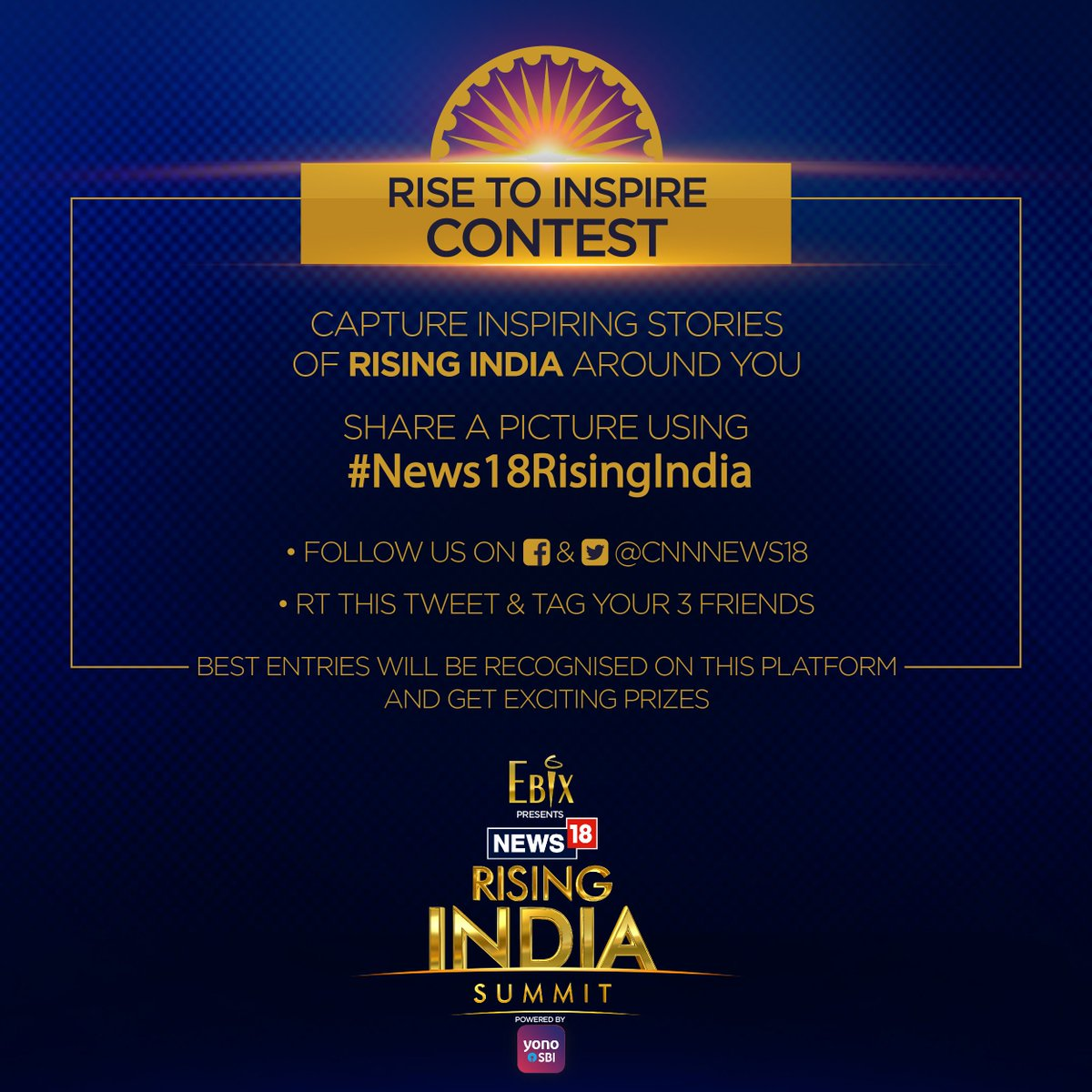 "We collectively represent the spirit of India. It's time for your inner photographer to emerge! Capture an image of what you think represents ""Rising India"" and the most inspiring photos stand a chance to win exciting prizes.  #YONOSBI  T&C:  https://t.co/NiT420F1kb"