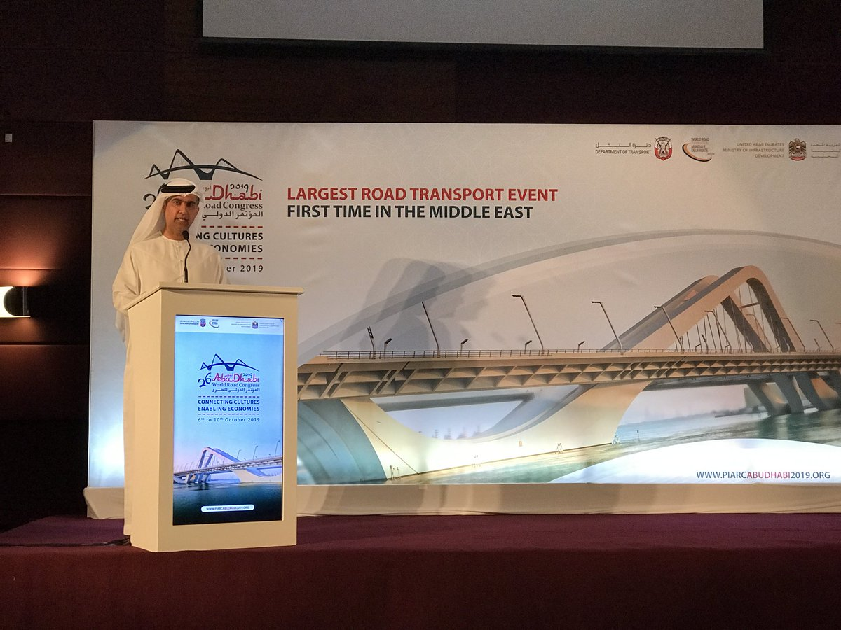Less than 8 months to go! Ahmed Al Hammadi presented the next World Road Congress this morning. Meet you in #AbuDhabi from 6 to 10 October. @PIARCabudhabi19 @PIARC_Roads