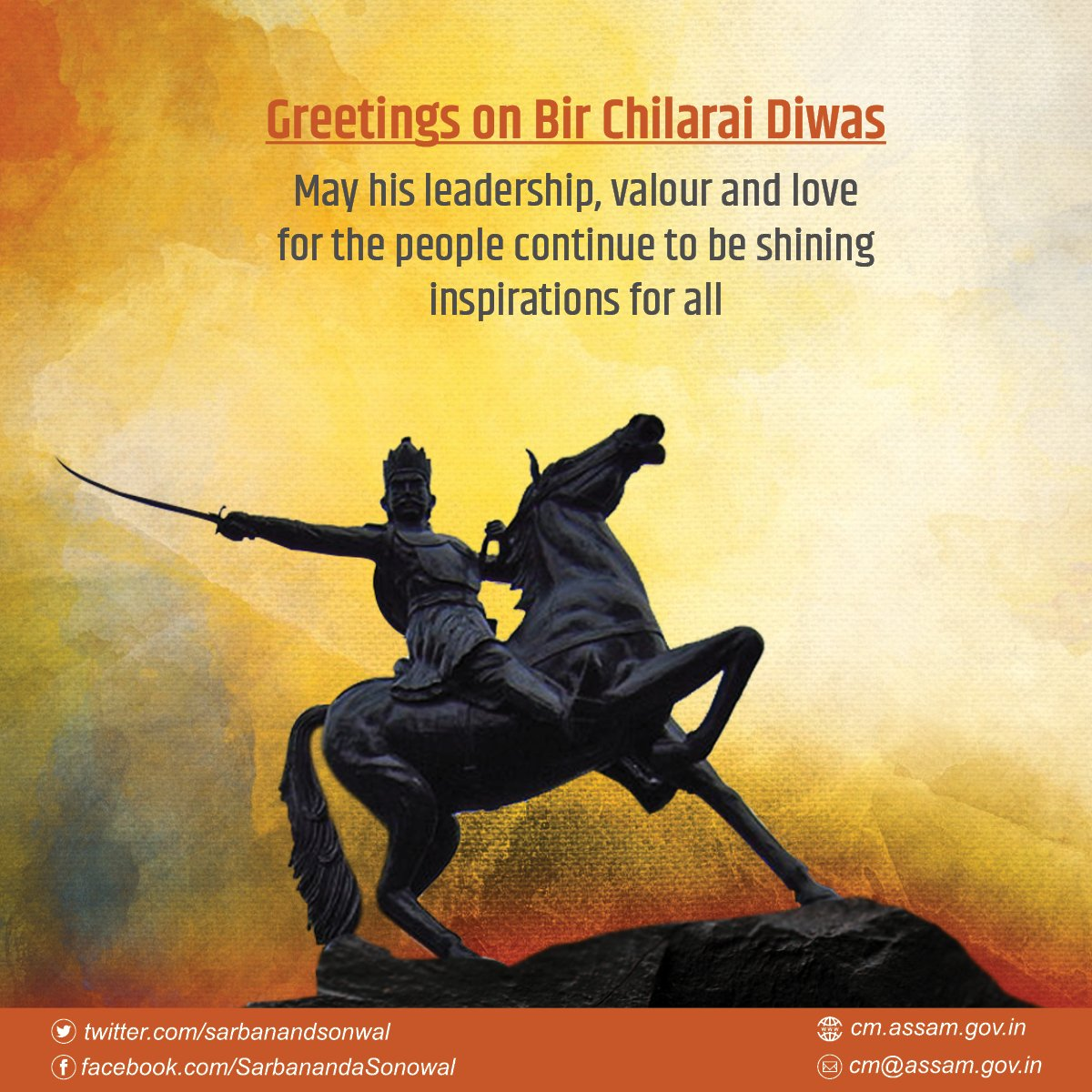 Tributes to Bir Chilarai on his birth anniversary. The legendary warrior and hero of the Koch kingdom remains a glorious chapter in our rich history.