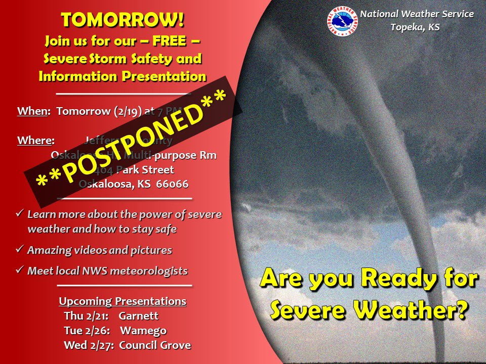 The Jefferson County Spotter Show scheduled for Tuesday (2/19) has been postponed due to the impending winter weather. Please stay tuned for a rescheduled date.  #kswx