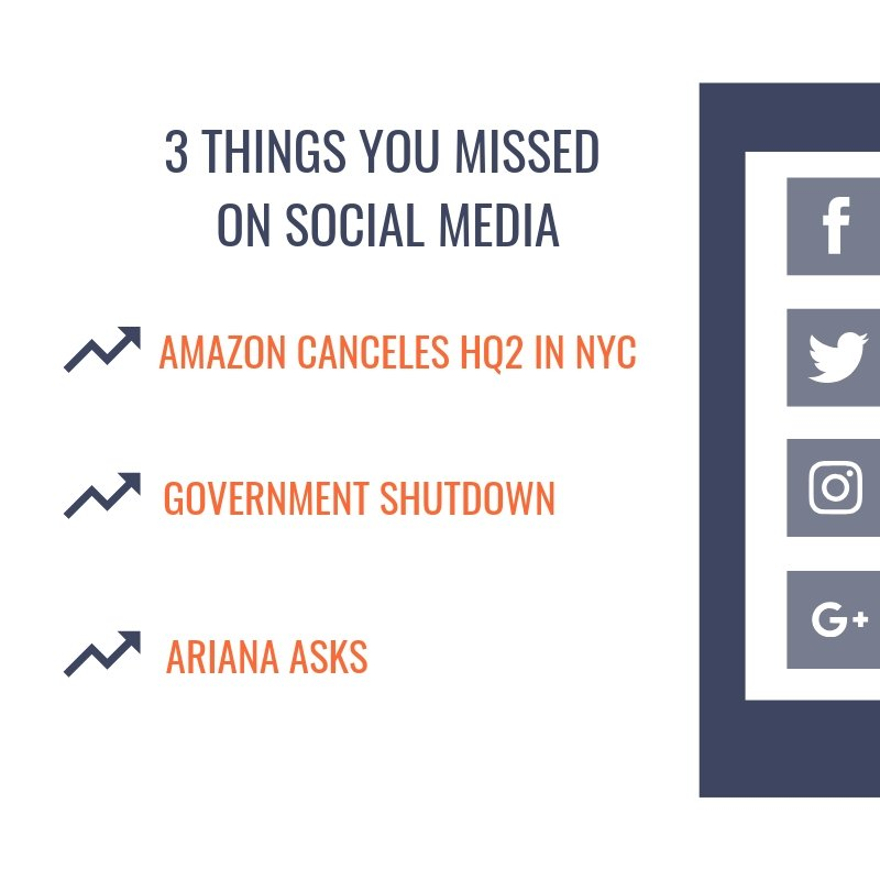 Here are 3 things you may have missed this week on social media! #AmazonHQ #GovernmentShutdown #ArianaAsks #SocialMedia #Analytics @ClemsonCOMM