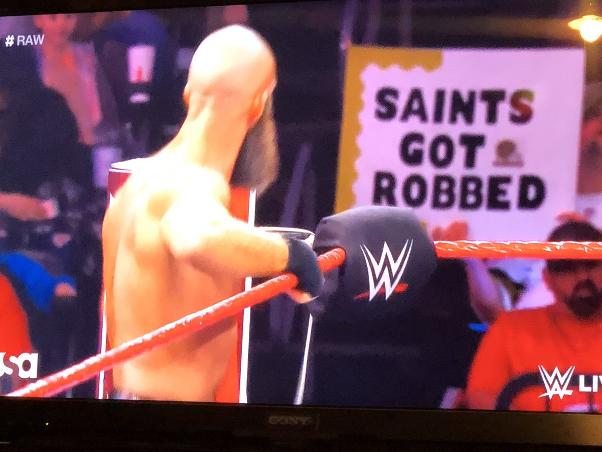 Love the Saints got robbed sign lol #RAW
