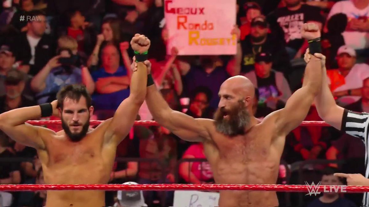 Now that's how you make your #Raw debut! @JohnnyGargano & @ProjectCiampa stand tall over #TheRevival!
