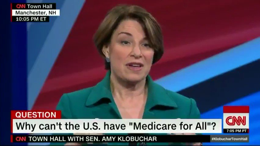 """Democratic Sen. Amy Klobuchar on if the US can have """"Medicare-for-all"""": """"It could be a possibility in the future. I'm just looking at something that will work now."""" #KlobucharTownHall https://cnn.it/2EgNGH8"""