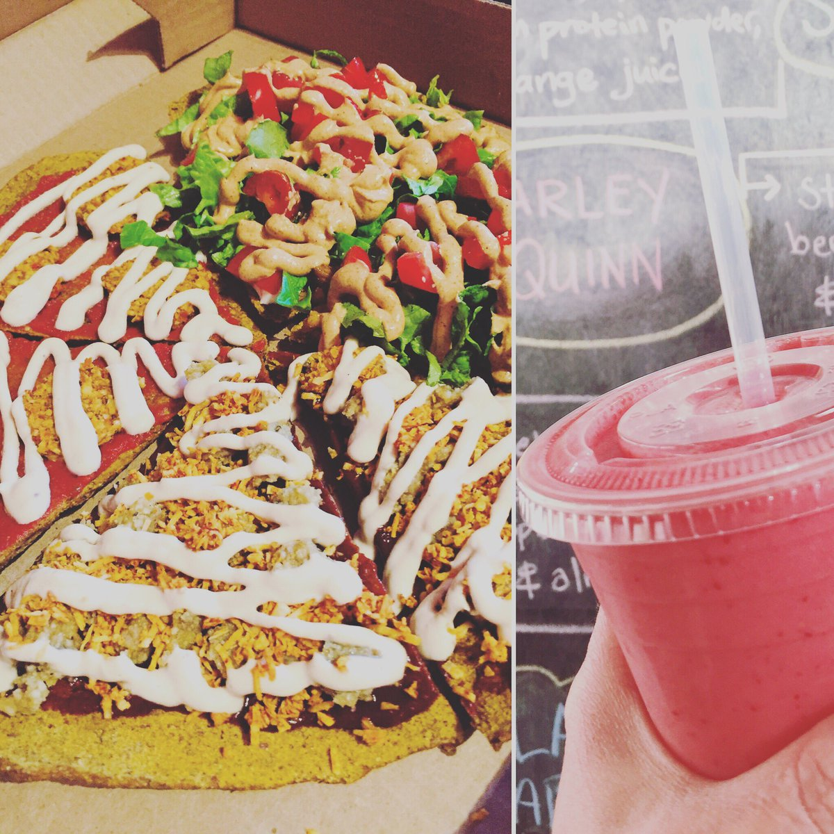 """It's all about our ridiculous raw thin crust #pizza & #smoothies all day Tuesday at Vegan Hippie-Chick on Fort 🍕👈 2-for-1 slices or full 8"""".. mix&match toppings too!  #veganpizza #rawvegan #glutenfree #foodgasm #veganaf #cashewcheese #yyjeats #jvr #shoplocalyyj #uvic #camoson"""
