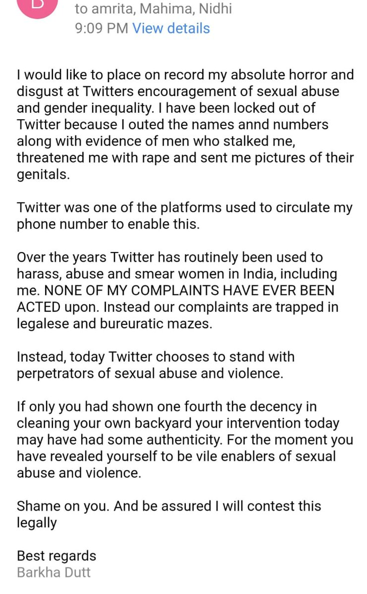 I had close to 1000 abusive messages and calls in a Cordinated and violent mob attack. These included a message to shoot me, a nude photo, many sexually abusive messages. I outed the men who did this. Twitter locked me till many of the details were taken down. I wroe this to them