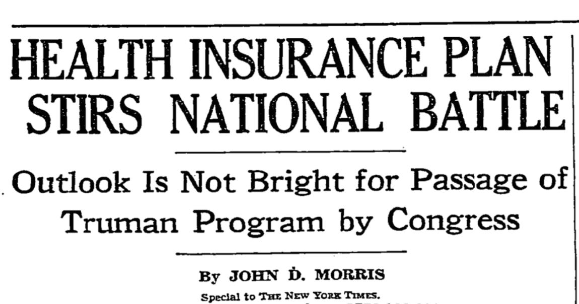 The New York Times on single-payer health care in 1949.