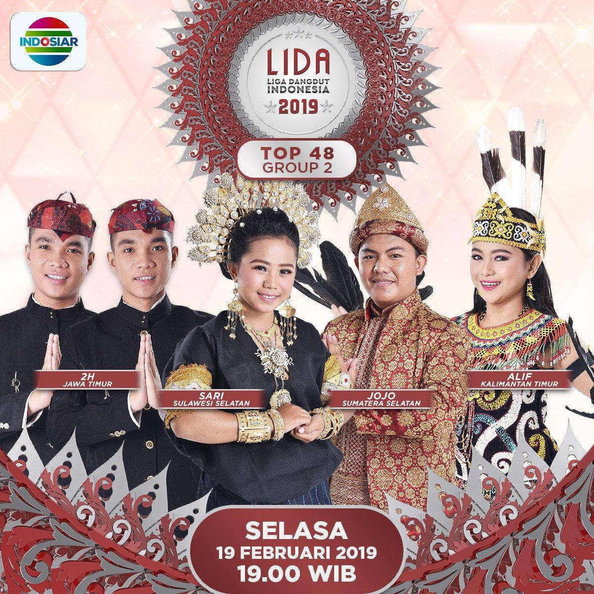 Hai Indosair Mania, jangan sampai ketinggalan yaa dengan serunya penampilan:   2H (Jawa Timur) Alif (Kalimantan Timur)  Jojo (Sumatera Selatan)  Sari (Sulawesi Selatan)   Di konser grup 2 babak top 48 #LIDA2019, malam ini pukul 19.00 WIB.