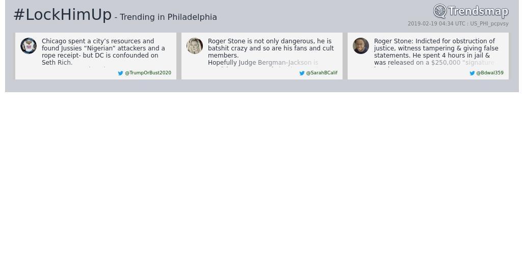 #lockhimup is now trending in #Philadelphia  https://www.trendsmap.com/r/US_PHI_pcpvsy