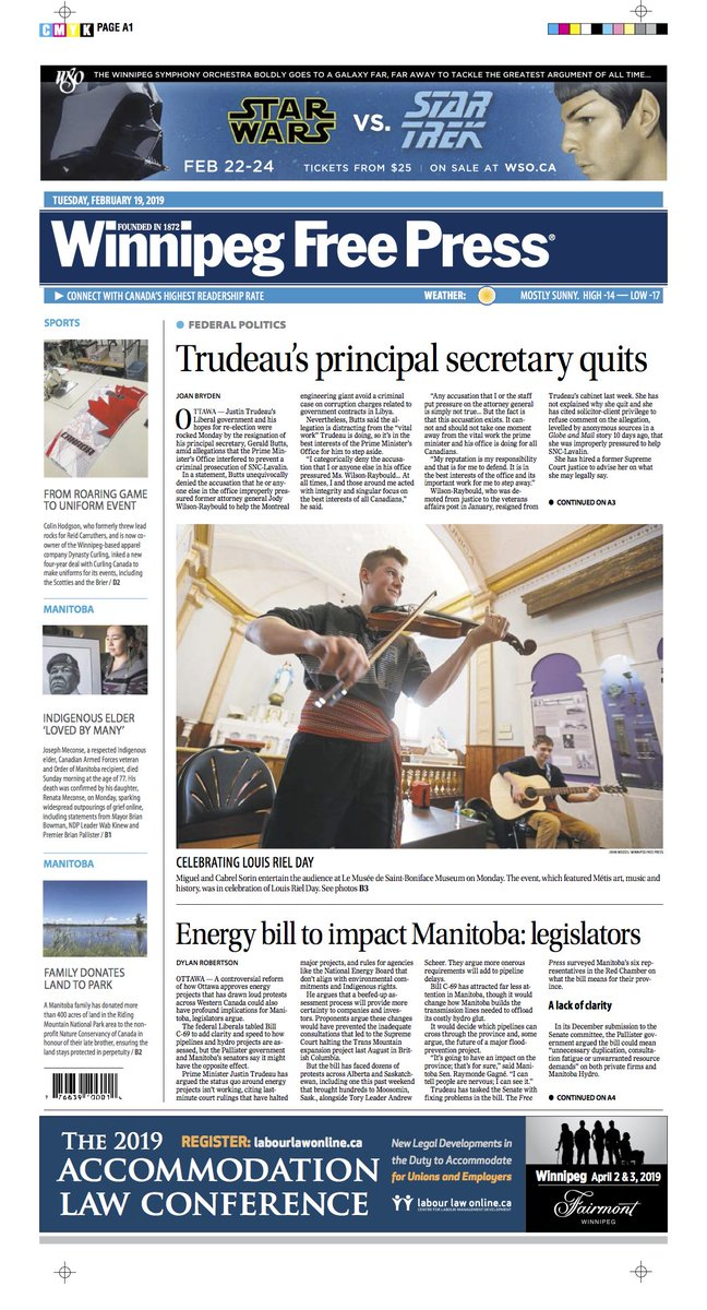 Trudeau's principal secretary quits on the front page of Tuesday's @WinnipegNews #wfp