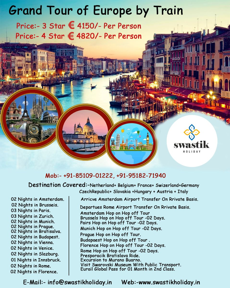 ✈️Europe Tour Package ✈️ 3* € 4150 Per Person 4* € 4820 Per Person  Web:- http://www.swastikholiday.in E-mail:- info@swastikholiday.in Mob:- +91-85109-01222, +91-95182-71940  #travel  #Amsterdam #Paris #Budapest #destination #Florence #travellingpost #photography