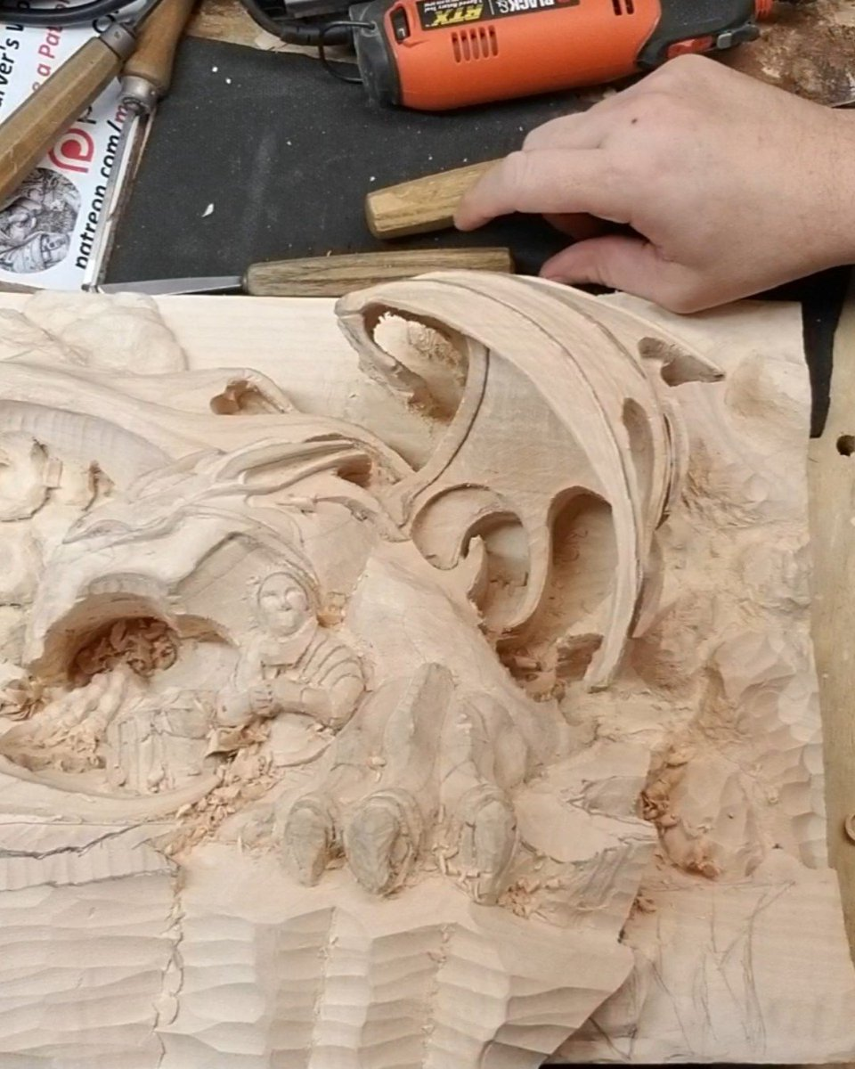Sentinel - Rock Outcropping 16 http://Www.patreon.com/madcarver  aka Madcarver  #fantasy #magicalrealism #bond #draco #magicalcreature #hyperrealism #woodsculpture #woodworking #woodcarving #got #scifi #wow #wot #fantasyfanart #fantasywork #companions #protector
