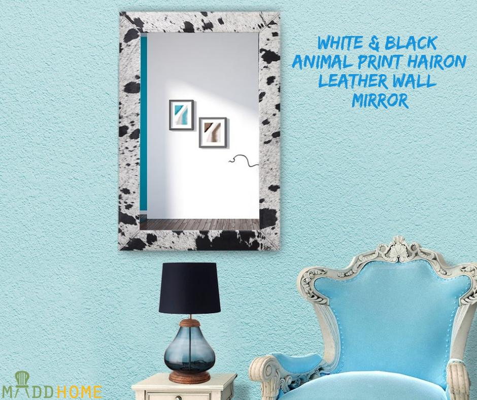 White & Black Animal print hairon Leather Wall Mirror  #MaddHome #HomeDecor #Mirror  Shopping with us- https://buff.ly/2rK7aNr