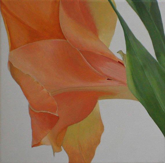 Gladiolus Painting Orange Macro Flower botanical Acrylic http://dld.bz/gvAVt macro flowers #homedecor #fineart
