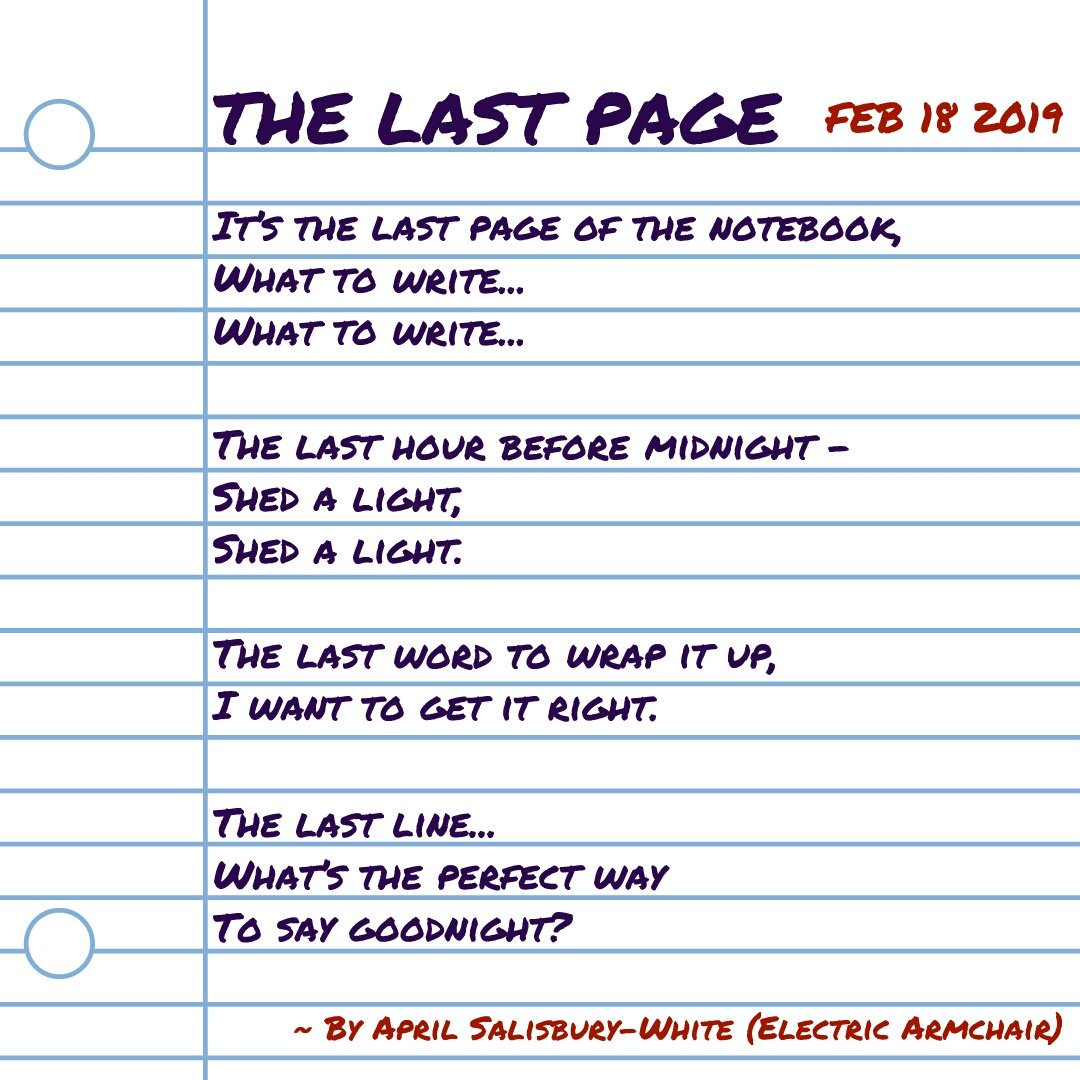 The last page of the notebook #february18 #february #poetry #micropoetry #poetrycommunity #writingcommunity #writing #notebook #goodnight