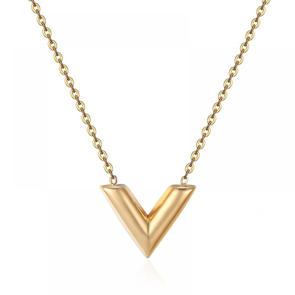 "#denim #streetstyle Minimalist Women's Necklace with ""V"" Shaped Pendant"