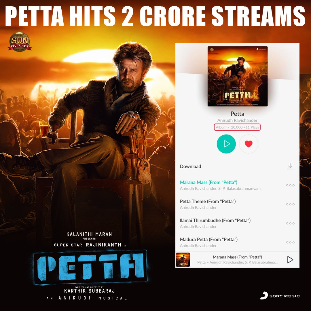 Our #TuesdayThoughts today is all about the M-I-N-D-B-L-O-W-I-N-G  #Petta album that hits 2⃣0⃣MILLION plays on @JioSaavn ! Here's for an absolutely spectacular feat!  🔥💯  ➡️ https://www.jiosaavn.com/album/petta/RMRLMiaaa0U_ …  @sunpictures @rajinikanth @karthiksubbaraj @anirudhofficial