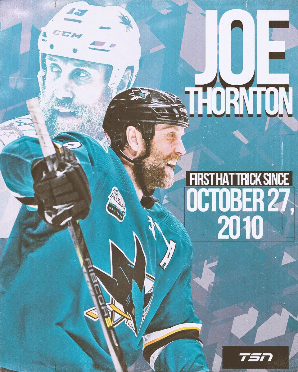 Joe Thornton registered his first hat-trick in 8.5 years in a 6-5 overtime loss to the Bruins.