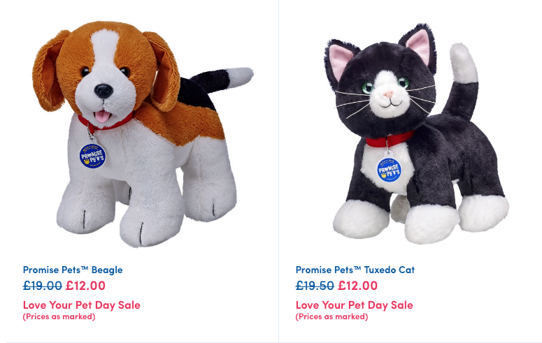 Selected Promise Pets are reduced online at Build A Bear for 'Love Your Pet Day' >>> https://tlbh.uk/2ttpU4j   Ends 20th Feb. #AD