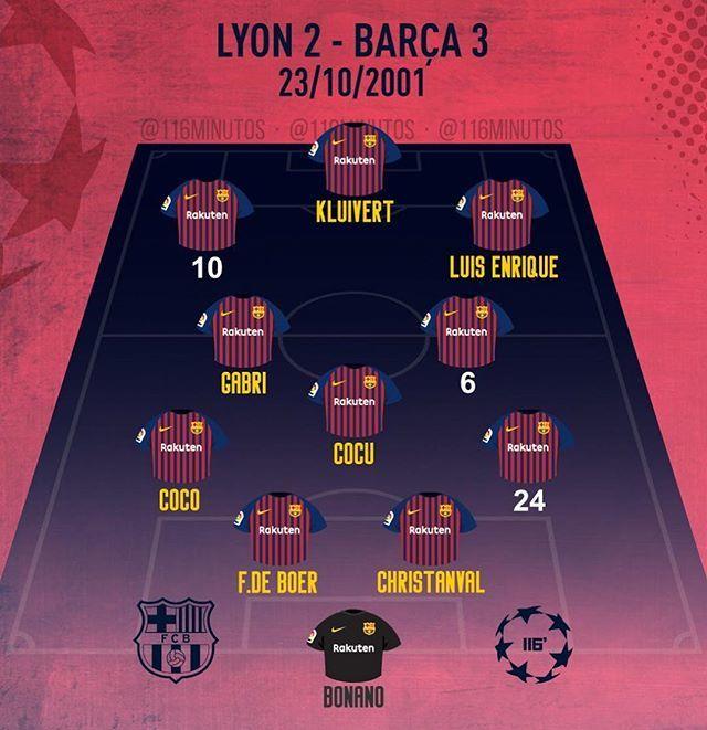 ⚠️JUEGO! Hoy recordamos la alineación del Barça en 2001, la única vez que ha ganado en Lyon (1V 2E 0D). ¿Qué jugadores llevaban aquella noche los dorsales 6, 10 y 24? La solución: esta noche en las Historias #fcbarcelona #barça #cules http://bit.ly/2DQIjNs