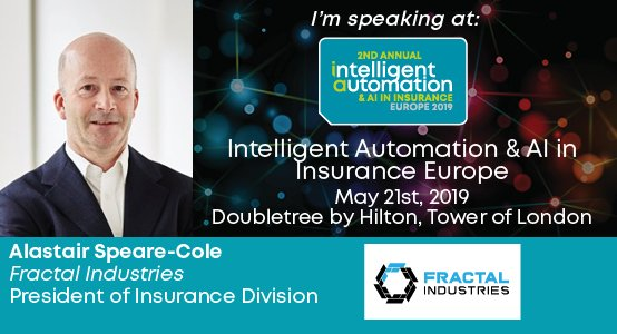 Very pleased to announce Alastair Speare-Cole, President of Insurance Division at @fractalos as a speaker at #Intelligent #Automation & #AI In #Insurance (May 21, London). To find out more follow the link to check out our event brochure here: http://bit.ly/2X5njLC#IAEurope19…