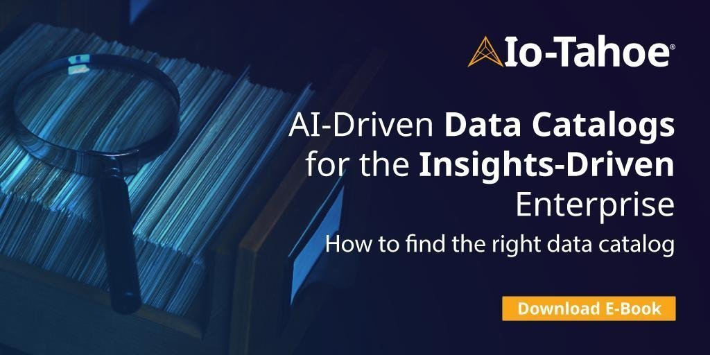 Today's data stores are simply too large to rely on manual processes. Read @iotahoe's latest #ebook to learn how #AI and #ML can greatly improve automated data cataloging: http://ow.ly/yG7U30nweOh.  #IoTahoe #SmartDataDiscovery #AIDriven #DataCatalog