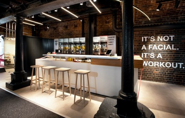 It's not a facial, it's a workout! Taking inspiration from the world of sport @face_gym @CoalDropsYard is a space where beauty meets sport designed by @StudioCK  #interiordesign #design #retail #beauty #Health #Wellbeing #London