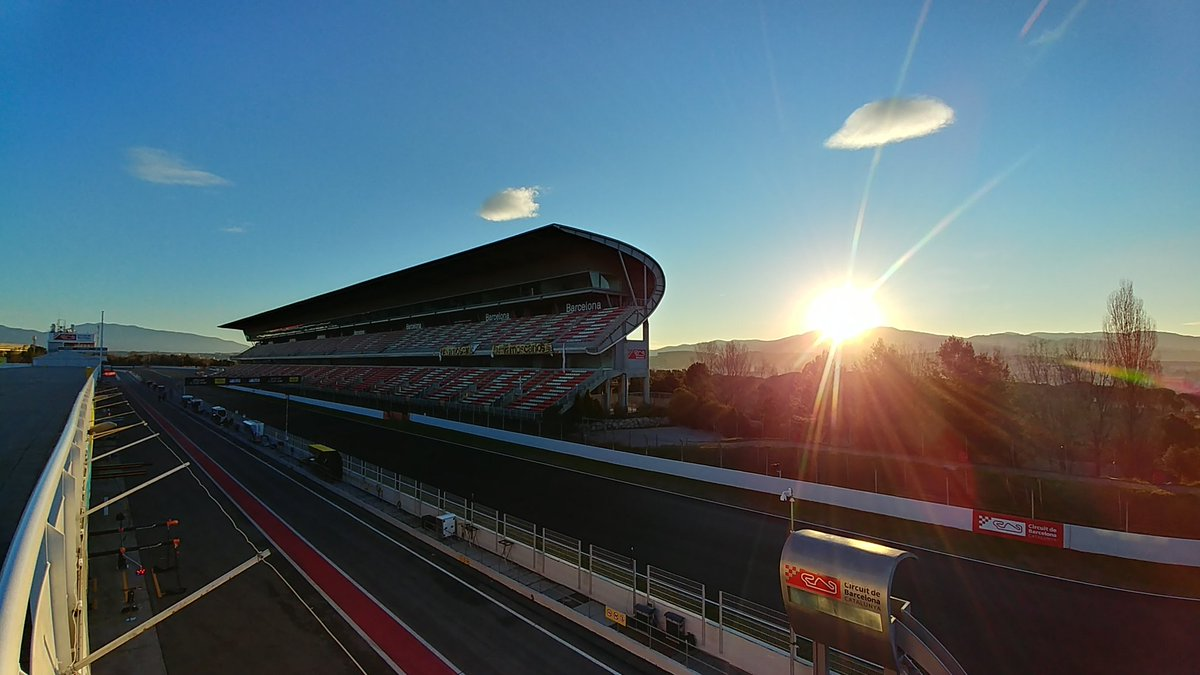 It's a beautiful day, the sun is up, the Formula1 engines are playing And even if it started raining You won't hear this boy complaining  #F1 #F1Testing #HappyTesting #Formula1 #Formule1 #Barcelona