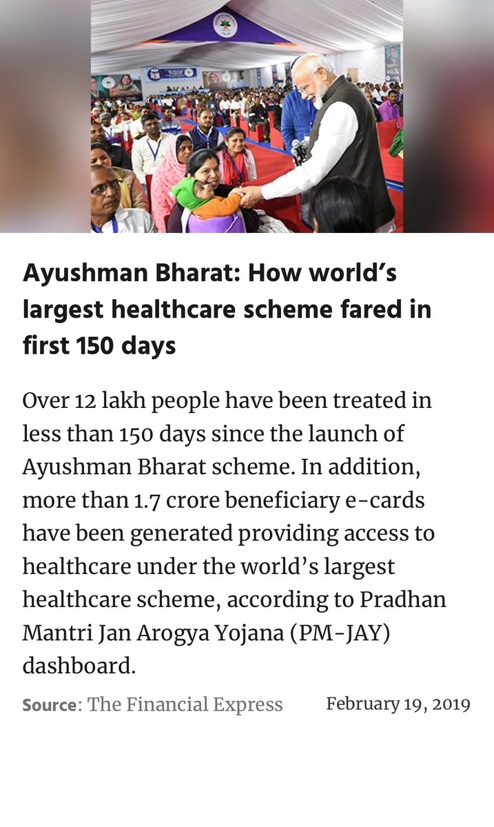 Ayushman Bharat: How world's largest healthcare scheme fared in first 150 days  https://www.financialexpress.com/economy/ayushman-bharat-how-worlds-largest-healthcare-scheme-fared-in-first-150-days/1491320/ …
