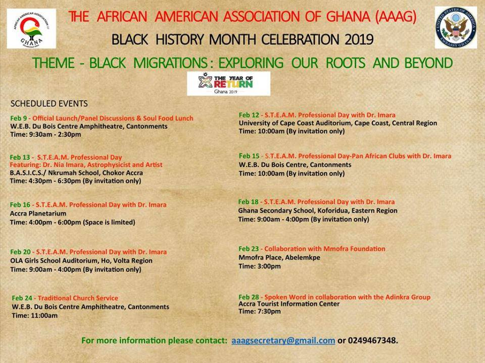 Wondering how to participate in Black History Month 2019? The African American Association of Ghana has a lot of interesting programs scheduled for this year's commemoration.
