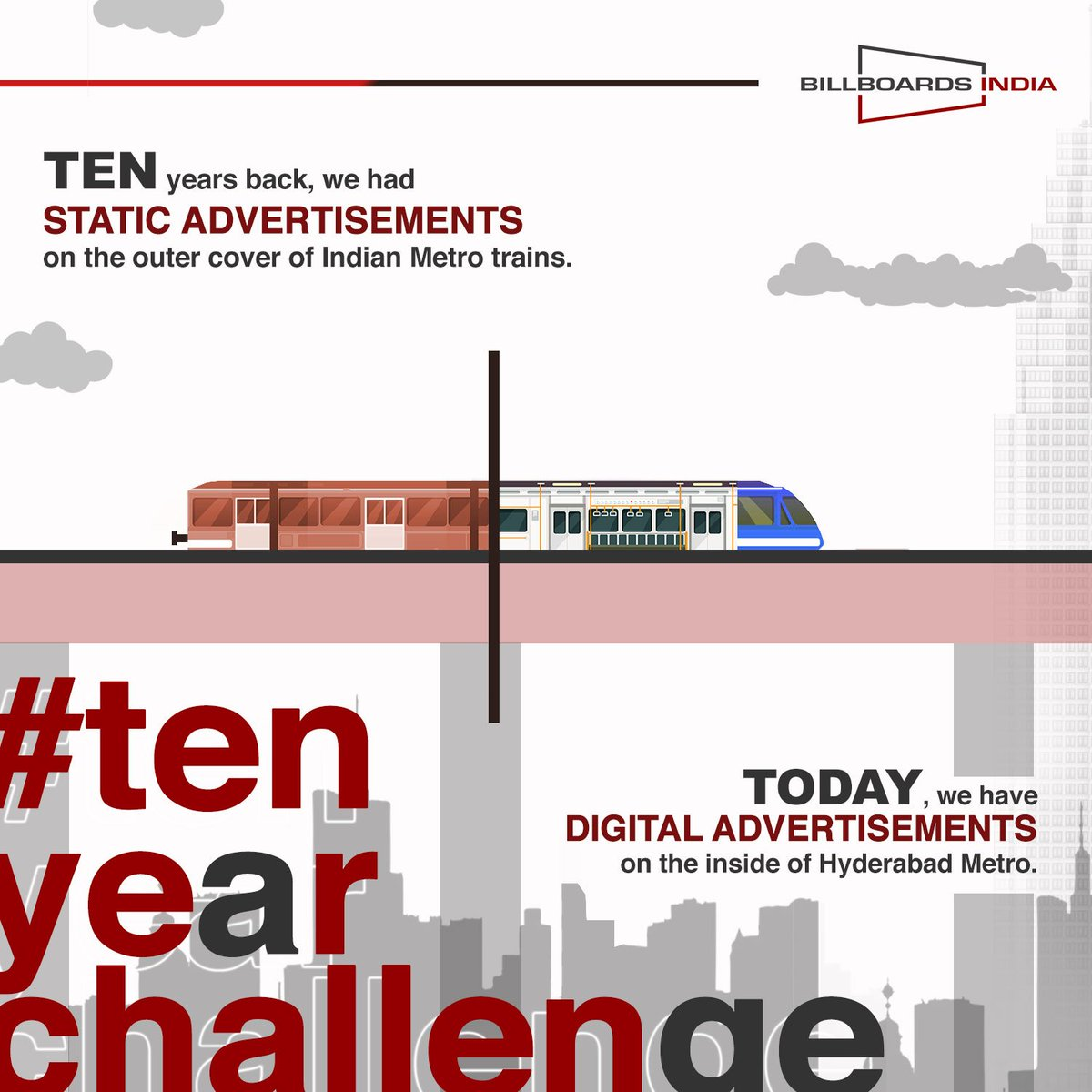 #10yearschallenge  Now You can #Advertise your #brand on the Digital Screens inside Metro Trains Of Hyderabad!! Contact 9550224488 or reach us at http://www.billboardsindia.com  #Billboardsindia #metrotrains #insidetrains #metroadvertising #Hyderabad #digitalscreens #Hyderabadmetro