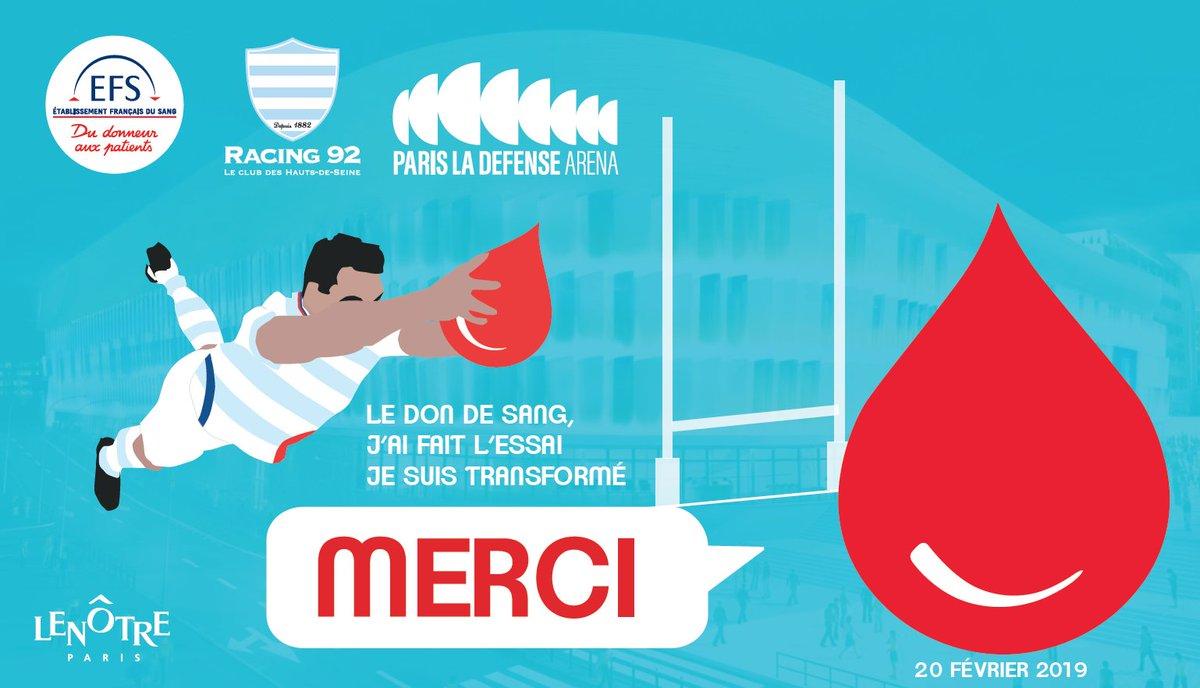 Transformez l'essai, donnez votre sang !    Rendez-vous demain (20/02) de 14h à 20h à @ParisLaDefArena (accès porte 55) pour @EFS_dondesang !   Au programme : Rencontre avec @_Mahout_ et les Ciel &amp