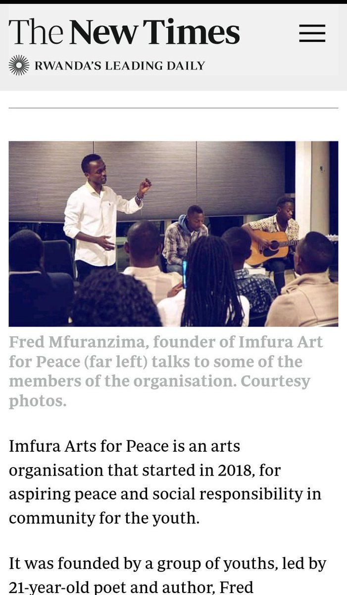 Thanks the @NewTimesRwanda for visiting my group Imfura Arts For Peace, and make an article about us. We are welcoming anyone else to show a support this young Africans stood up for the positive changes in our communities through arts.  #Rwanda #Afrique #YouthForClimate #Peace