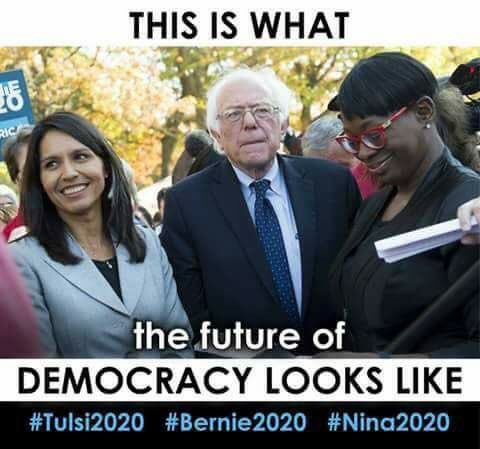 Any combo of #Nina2020, #Tulsi2020 & #Bernie2020 would be fantastic! We are used to paid for shills attempting  to wedge like minds against each other, no worries, we see it. #Progressives2020 #AnyBlueWontDo #MedicareforAll