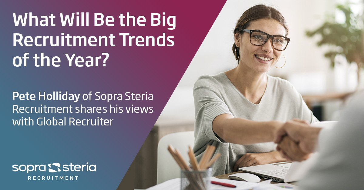 What will be the big recruitment trends of the year? Pete Holliday from @SopraSteriaRec spoke to @globaleditor on the rise of managed service recruitment and what all recruitment businesses need to raise the bar to remain competitive in 2019 - https://tinyurl.com/y6q6682b