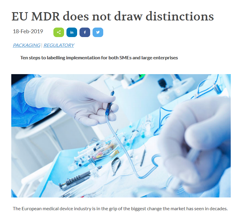 Here is our latest EU #MDR article around Ten steps to #labeling #implementation for both #SMEs and large #enterprises published by @manchempharma   https://tinyurl.com/y5njjoat