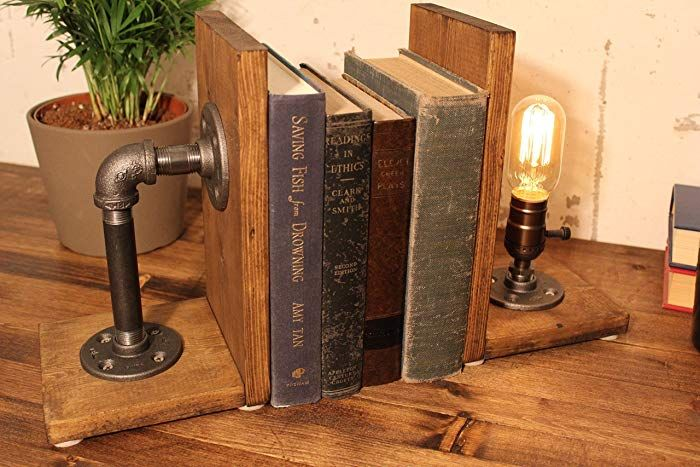 Industrial Bookend Steampunk Table Pipelamp https://buff.ly/2GvEgto #industrial #interiordesign #steampunk #bookend #woodworking #Ad