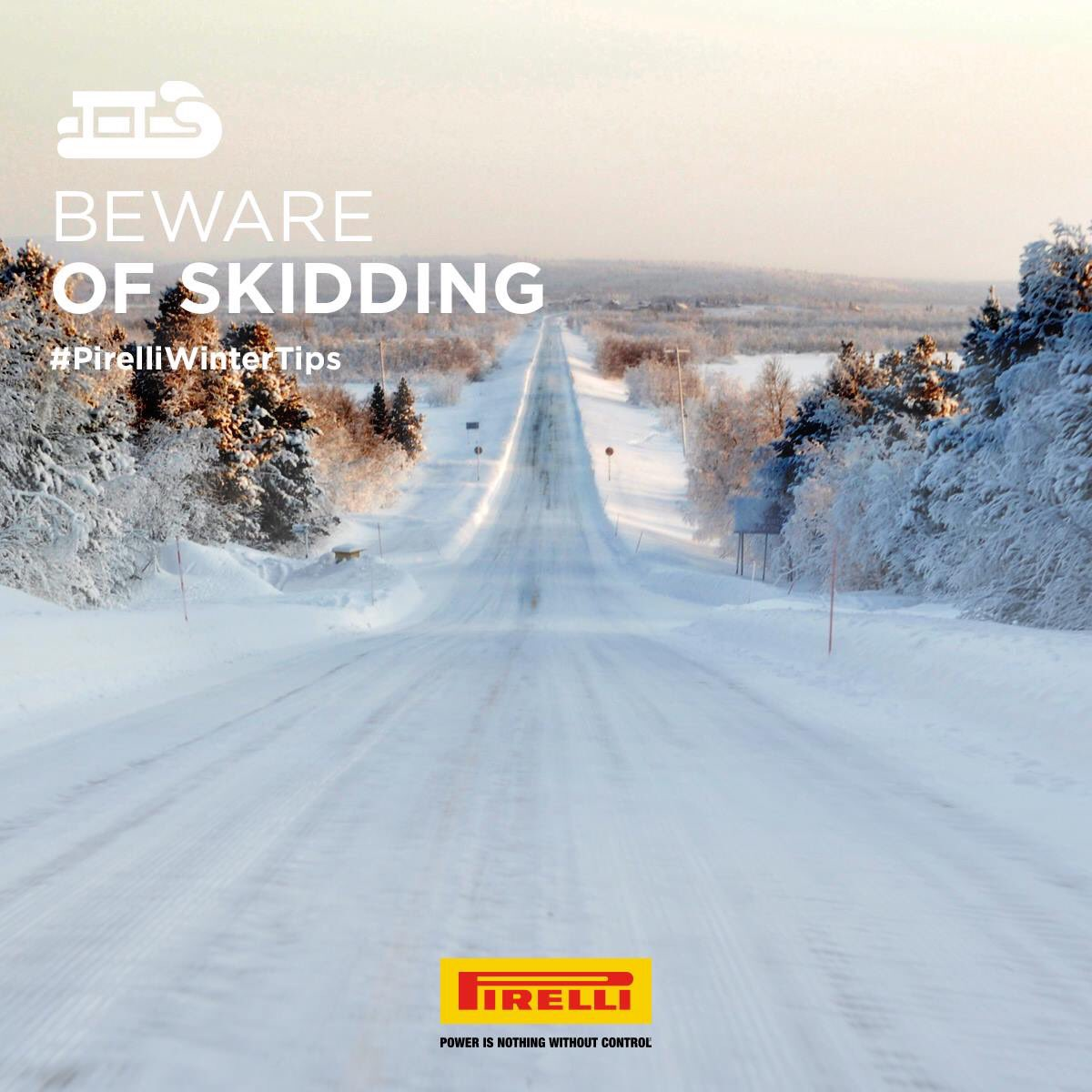 """Have you ever heard of the """"skidding effect""""? When driving downhill on snowy roads, lift your foot off the brake and exploit the engine brake to slow down.  Discover more:  http://pirelli.com/global/en-ww/road/the-5-golden-rules-for-driving-on-snow…    #Pirelli #PirelliWinterTips #WinterTires #WeAreInControl"""