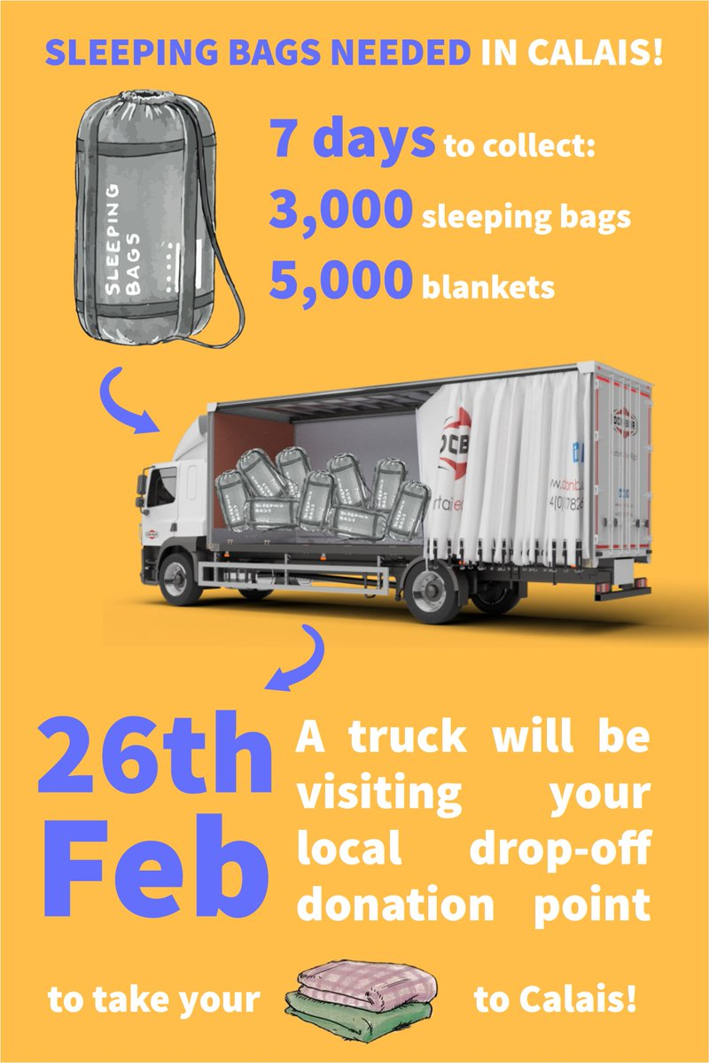 🚛 We're organising a sleeping bag collection for Calais in 7 days! 🚛  If you have 3,000 sleeping bags and 5,000 blankets in your loft (or even just one or two)... take them to your local drop-off point before the 26th! https://helprefugees.org/news/sleeping-bags-needed-calais/ …