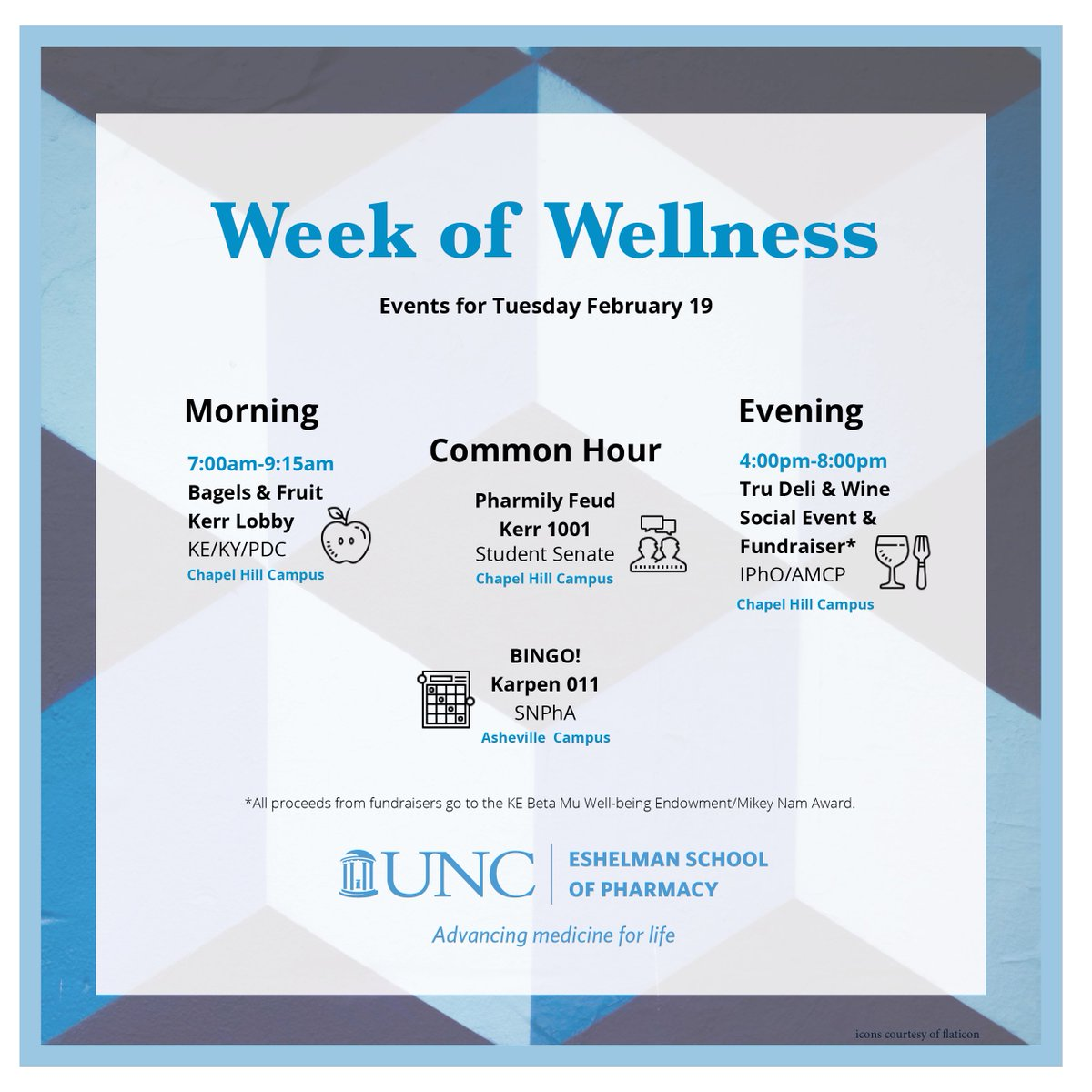 Today is the second day of our Week of Wellness. Check out the awesome events that are going on today! Tag us with #UNCPharmacy to let us know how you're taking part in WoW! https://t.co/2MRj9QIi4x