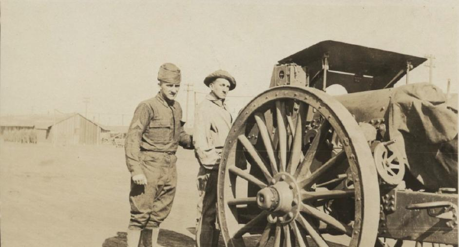 Feb 10, 1919 - Two US soldiers standing next to a 6-inch howitzer at Fort Sill, Oklahoma #100yearsago