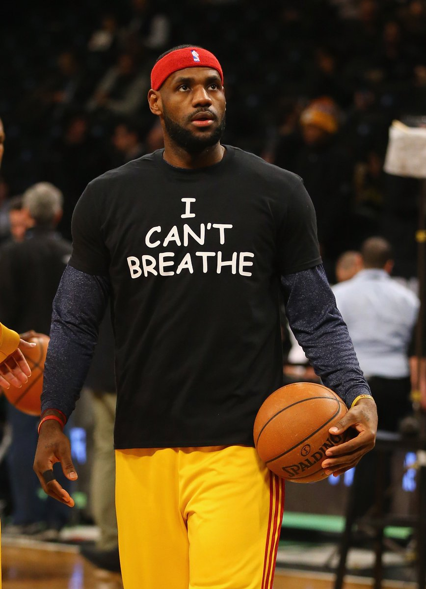 """'We have to be better for one another no matter what race you are."""" — LeBron James   On Dec. 8, 2014, several players wore  'I Can't Breathe ' shirts during warm-ups for a game in Brooklyn:https://t.co/sDC3NjqB10  #BHM"""