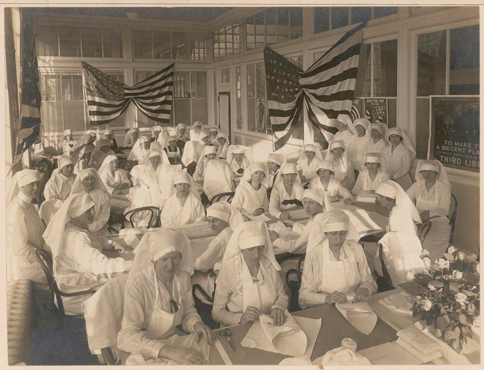 Feb 10, 1919 - Female factory office workers volunteering to pack bandages for the American Red Cross in New Britain, Connecticut  #100yearsago