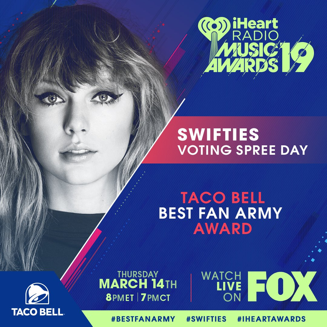 ✨ Hi #Swifties! ✨  Welcome to your @tacobell #BestFanArmy VOTING SPREE DAY! We will be giving out cool custom @taylorswift13 prizes to some lucky Swifties who vote on Twitter today! Use      to EN@tacobellTER! #iHeartSweepstakes #iHeartAwards