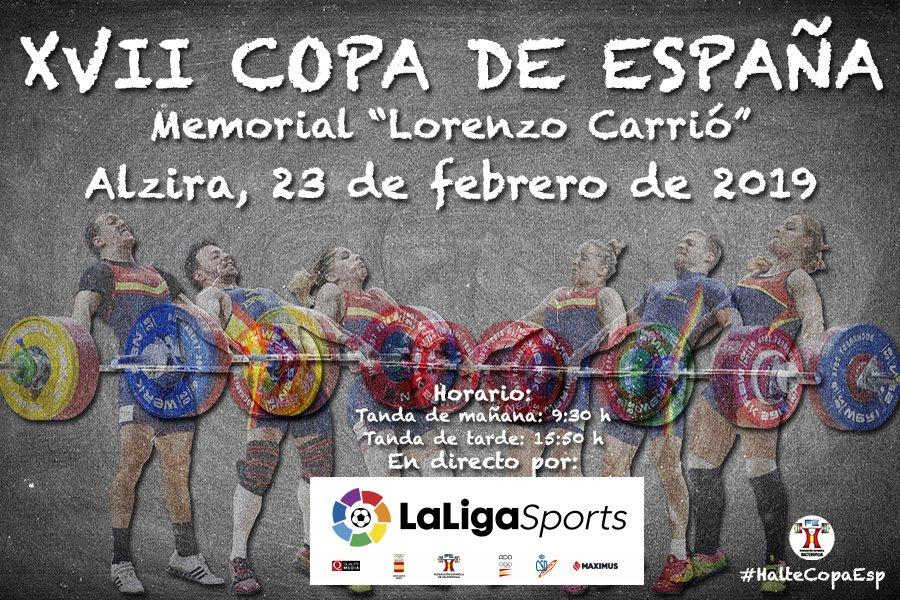 🏋️♂️ Este sábado se celebra la XVII Copa de España 'Memorial Lorenzo Carrió' de halterofilia en Alzira.  🏆 Estará también en juego la clasificación para el Campeonato de Europa que se disputará en Batumi (Georgia) del 5 al 14 de abril.  📸 @fedehalter #ESPasion